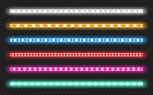 Satz led-streifen mit neon-glow-effekt