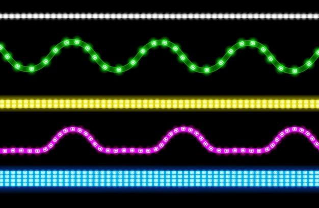 Satz led-streifen mit neonlichteffekt