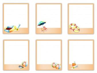 Satz leere Fotos mit Strand-Einzelteil-Bildern