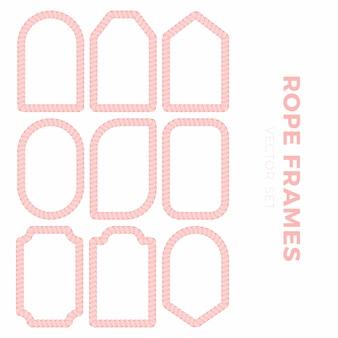 Satz leere geschenkmarkenaufkleber für verkaufspreise mit seilentwurf. seilrahmen aufkleber in verschiedenen runden, quadratischen und rechteckigen formen