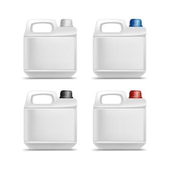 Satz leere kunststoff jerrycan kanister gallone ölreiniger waschmittel abstergent isoliert