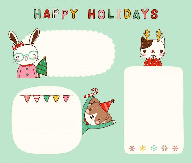 Satz leere mitteilungsweihnachtskarten mit niedlichen tieren