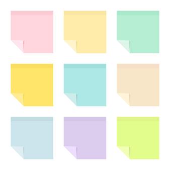 Satz leere pastellfarbene klebrige papiernotizen mit gekräuselten ecken. sammlung von schul- und bürobedarf. flache vektorillustration lokalisiert auf weißem hintergrund