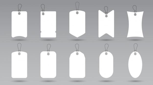 Satz leere preisschilder geschenkbox oder verkauf einkaufsetiketten mit seil, in verschiedenen formen.