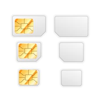 Satz leere standard-, mikro- und nano-sim-karte für telefon mit goldenem glänzendem chip