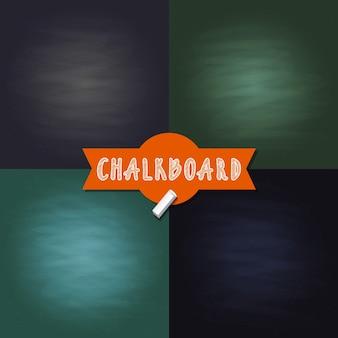 Satz leere tafel textur hintergründe mit verschiedenen farben. schwarzweiss-illustration des tafelhintergrundes