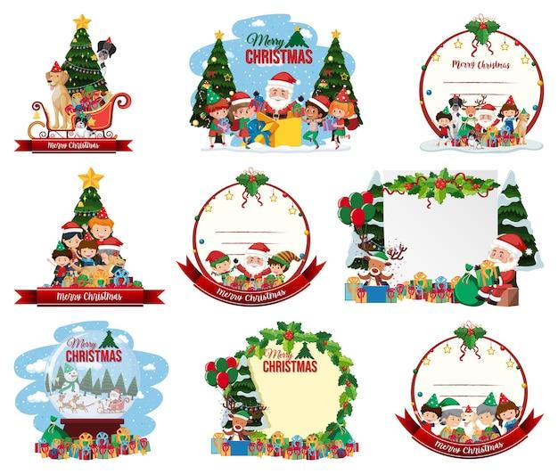Satz leere weihnachtspostkarte und logo lokalisiert