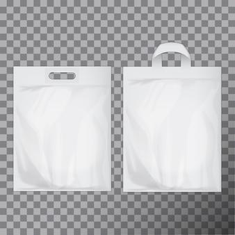 Satz leere weiße leere plastiktüte. verbraucherpaket bereit für logo- oder identitätspräsentation. handelsprodukt lebensmittelpaket griff