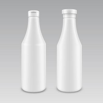 Satz leere weiße mayonnaise-senfketchupflasche aus kunststoff für das branding ohne etikett auf dem hintergrund