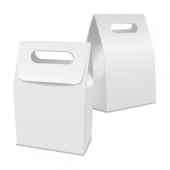 Satz leere weiße modellkarton nehmen lebensmittelbox weg. leere produktbehältervorlage, illustration