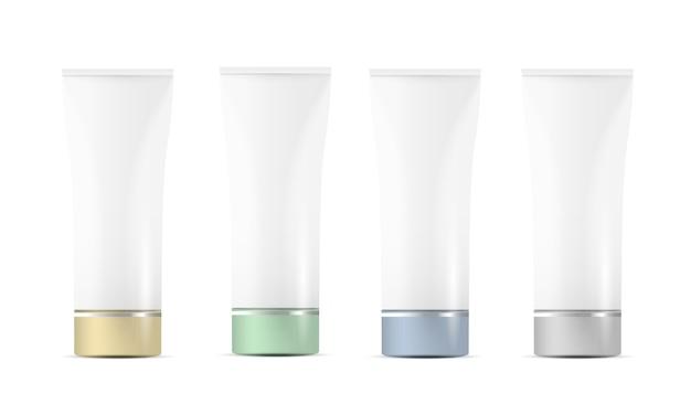 Satz leere weiße plastikrohre für kosmetik mit farbigen kappen