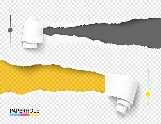 Satz leeres bunt zerrissenes papierloch vom rechten und linken seitenbanner