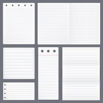 Satz leeres liniertes papier
