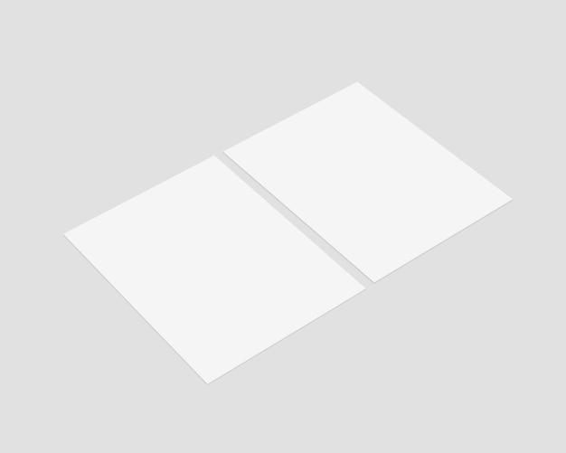 Satz leeres weißes papier mit weichem schatten. papier. isoliert. vorlagenentwurf. realistische illustration.