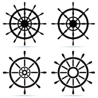 Satz lenkräder - isoliert auf weiß