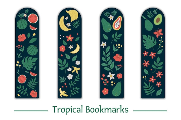 Satz lesezeichen mit tropischen früchten, blättern, blüten. niedliche wassermelone, bananen, papaya, avocado