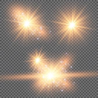 Satz leuchtende helle sterne mit funkeln