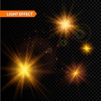 Satz leuchtende lichteffektsterne platzt mit funkeln auf transparentem hintergrund. illustration