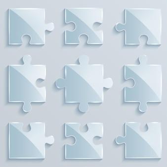 Satz leuchtende puzzleteile. geschäftskonzept Premium Vektoren