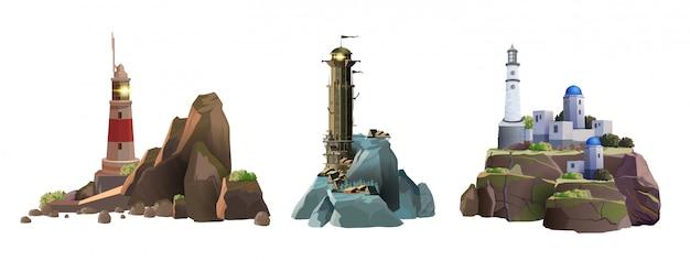Satz leuchtturmtürme auf den verschiedenen inseln. einfache, griechische und epische stilvolle leuchttürme. rocky islands mit einem leuchtturm auf einem weißen hintergrund