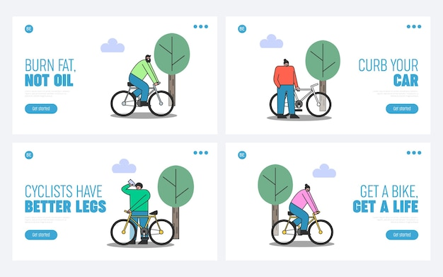 Satz leute auf fahrrädern. landing pages für fitness und radfahren für ein gesundes lifestyle-website-design