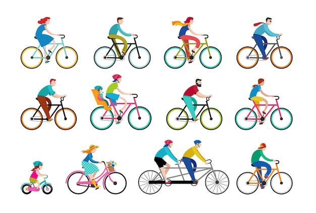 Satz leute, die auf fahrrädern fahren