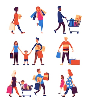 Satz leute, die einkaufstaschen mit käufen tragen.