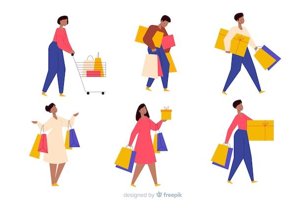 Satz leute, die einkaufstaschen tragen