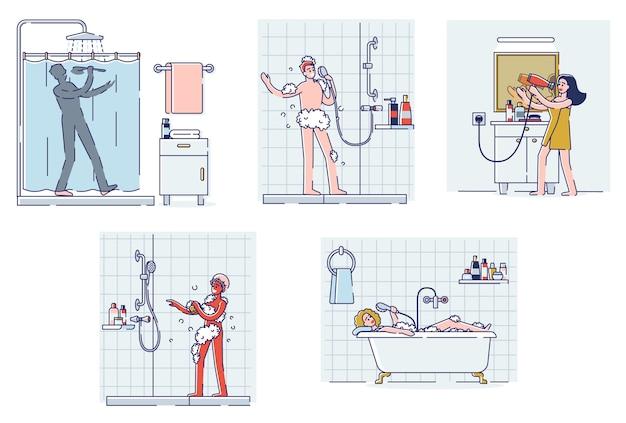 Satz leute, die im badezimmer singen. glückliche zeichentrickfiguren, die dusche oder bad nehmen, haare trocknen, singen und tanzen entspannt lächelnd