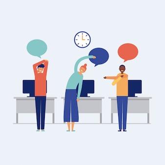Satz leute, die im büro arbeiten und aktive pausen tun
