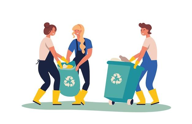 Satz leute, die müll und plastikmüll für das recycling sammeln. service-recycling. recyceln sie sortierten organischen müll in verschiedenen behältern zur trennung, um die umweltverschmutzung zu verringern.