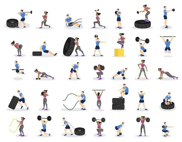 Satz leute, die training machen. fitness- und bodybuildingübungen