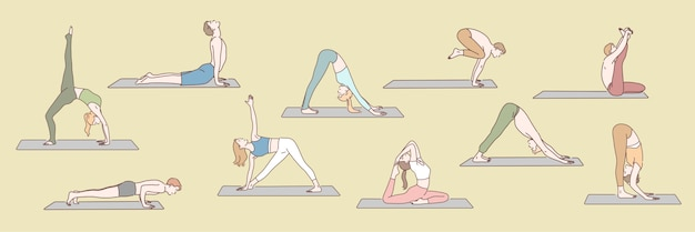 Satz leute, die yoga-konzept tun