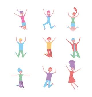 Satz leute glücklich, die zeichen genießend springen