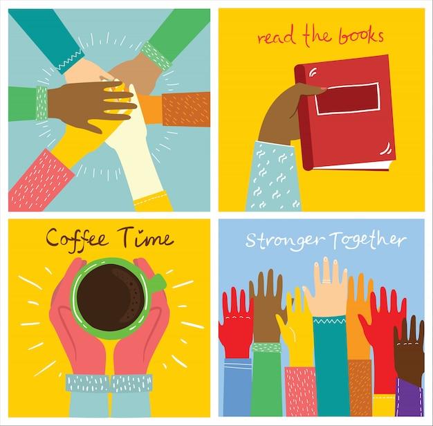 Satz leute hände illustration. stark zusammen viele hände hoch. hand mit buch. kaffeezeitplakathände mit becher. teambuilding hände.