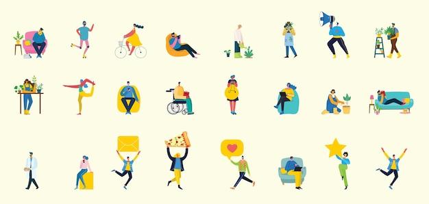 Satz leute, männer und frauen mit verschiedenen zeichen flache artillustration