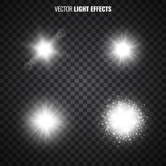Satz lichteffekte auf transparentem hintergrund. weißes sternenlicht, sonnenstrahlen, fackeln, funkeln. glitzernde lichter. illustration.