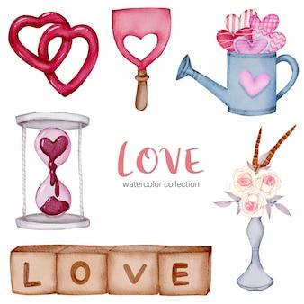Satz liebe callection, isoliertes aquarell-valentinsgrußkonzeptelement reizende romantische rot-rosa herzen für dekoration, illustration.