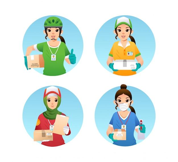 Satz lieferservice mädchen charakter oder maskottchen mit verschiedenen uniform und pose