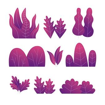 Satz lila pflanzen. verschiedene bäume, büsche und blätter. illustration.