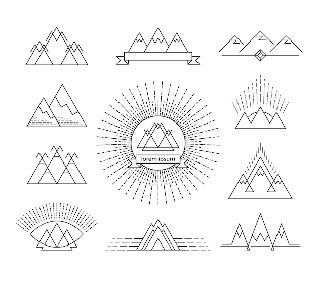 Satz linearer berggestaltungselemente. isolierte logos.