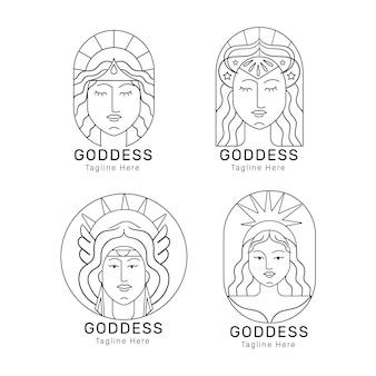 Satz linearer flacher göttinnenlogoschablonen
