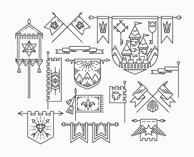 Satz linearer grafischer flaggen, designelemente im hipster-stil, retro-standards.