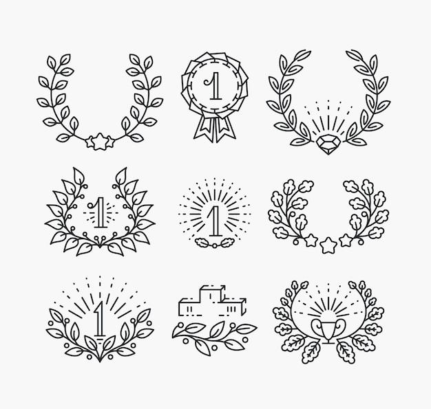 Satz liniensiegsymbole und lorbeerkränze. isolierte gewinnerobjekte im hipster-stil.