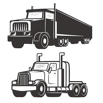 Satz lkw-illustrationen auf weißem hintergrund. elemente für logo, etikett, emblem, zeichen, markenzeichen.