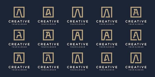 Satz logo buchstaben a mit quadratischem stil. vorlage