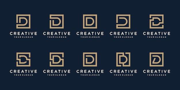 Satz logo design buchstabe d mit quadratischem stil.