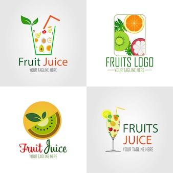 Satz logo-design von bio-fruchtsaft aus frischen früchten im flachen design-stil-vektor-illustration