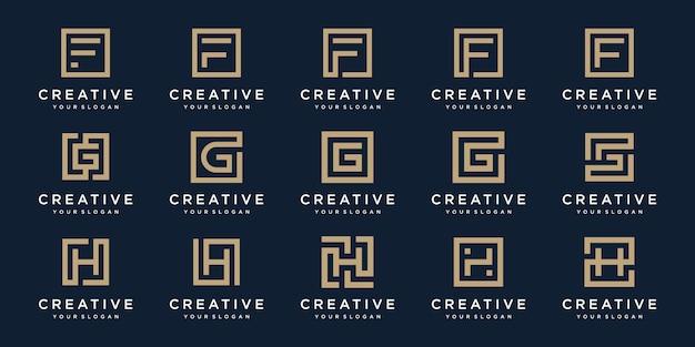 Satz logo-designbuchstaben f, g und h mit quadratischem stil.