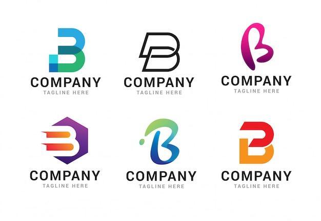 Satz logo-ikonen-schablonenelemente des buchstaben b